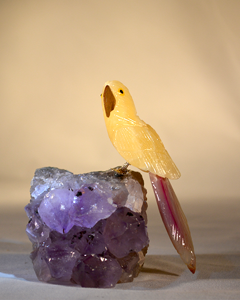 yellow parrot Gemstone Sculpture