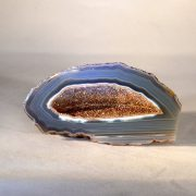 light blue cross sectional geode rock